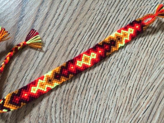 purple yellow diamond pattern  vibrant blue multicolor  aztec neon  hand woven  adjustable  friendship bracelet