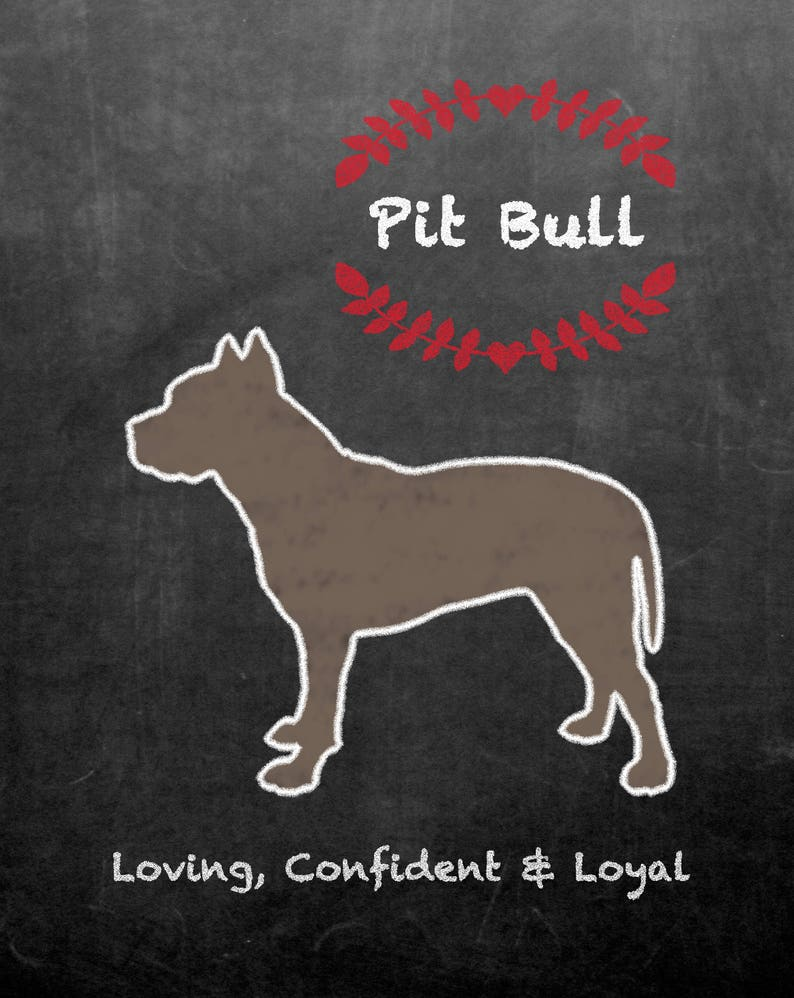 Pit Bull Dog Silhouette Chalkboard Background image 0