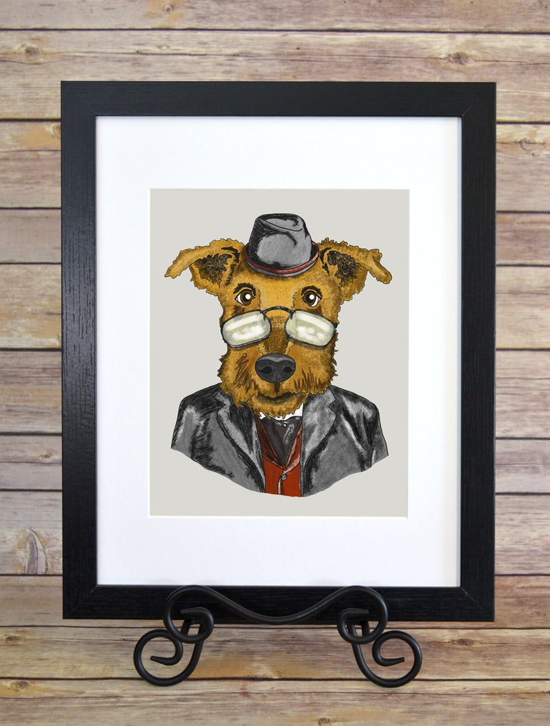 Dashing Airedale Terrier Caricature  Airedale Terrier Dog image 0