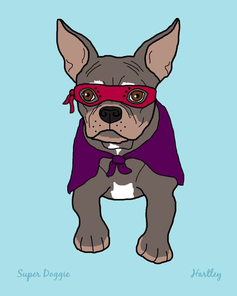 Wall Art French Bulldog Super Hero Dog 8x10 Art Print 5x7 image 0
