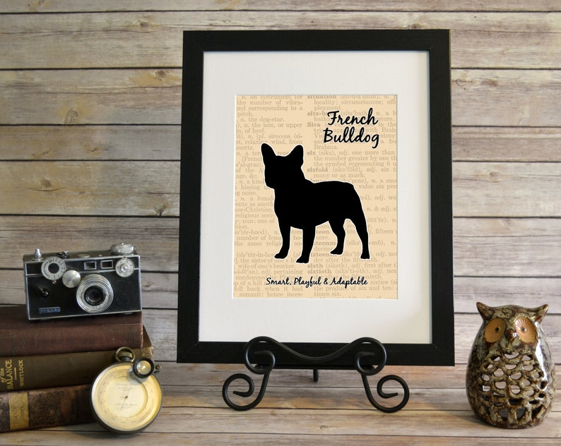 French Bulldog Silhouette Customizable Background Dog Print image 0
