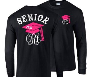 4cdcee07013e Senior shirt, class of 2019 shirt, Senior 2019 Shirt, Graduation Long  Sleeve Shirt, Preppy Bow or Preppy Cap, Class of 2019