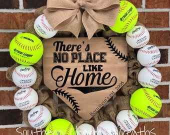Softball Wreath Etsy