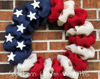 """18"""" American Flag Patriotic Burlap Wreath"""