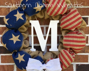 SALE*** American Flag Patriotic Burlap Wreath with Initial ***Ships in 3-5 Days!!****