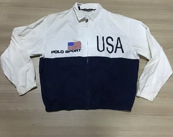 Vintage 1990 s Polo By Ralph Lauren RL 93 67 USA Stadium Flag Color Block  jacket Rare 9c54ce074c