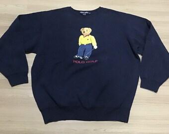 Vintage 1990 s Polo Bear Ralph Lauren Golf Sweater Crewneck Sweatshirt Rare  rap hip hop 90 s 3aa3599d0e