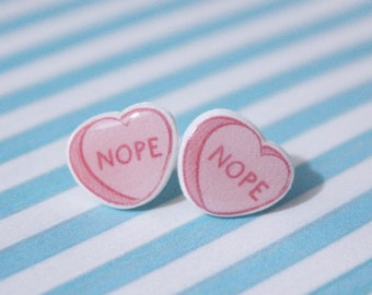 "Mean Conversation Heart Earrings ""Nope"" Shrink Plastic"