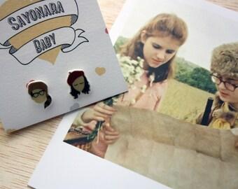 "Moonrise Kingdom ""Sam and Suzy"" Earrings (Wes Anderson) Shrink Plastic"