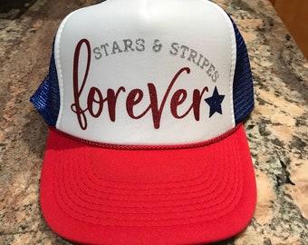 553d85c619c85c Stars and Stripes FOREVER custom glitter vinyl trucker hat-Red white and  blue-Patriotic-Fourth of July