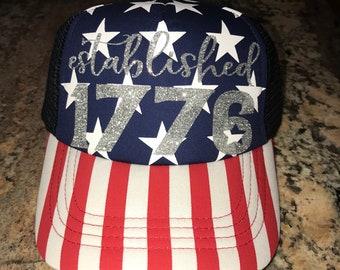 4282f6ef143b2d Establish 1776 Stars and Stripes custom glitter vinyl trucker hat-Fourth of  July-Patriotic-Memorial Day-Red white and blue