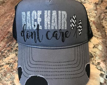 e697ebced26 Race Hair Don t Care custom glitter vinyl trucker hat-Racing Hats- CUSTOMIZABLE