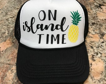 031c99b8 On Island Time-Custom vinyl trucker hat-Pineapple-Vacay-Summertime-Spring  break-Party hat