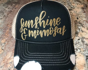 f0a57ded748 Sunshine and Mimosas custom glitter vinyl trucker hat-drinking hats -distressed-ripped
