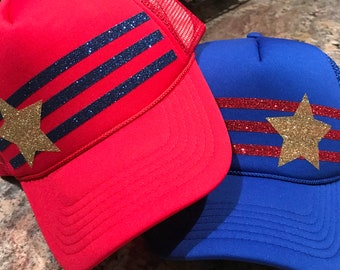 e9aaa18cc5095f RED white and BLUE custom Fourth of July glitter vinyl trucker hats- Patriotic-Memorial Day