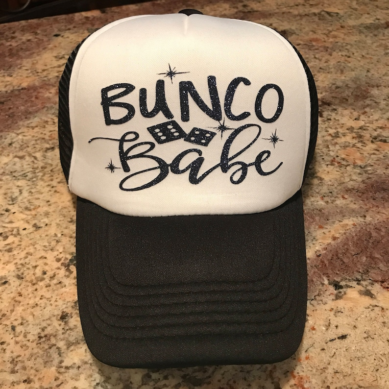 Bunco Babe custom glitter vinyl trucker hat-heat transfer  53024646562