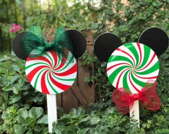 disney inspired christmas peppermint candy yard decorations - Disney Christmas Yard Decorations
