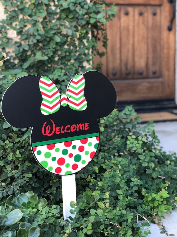 Disney Inspired Minnie Mouse Christmas Decoration Welcome Yard Sign