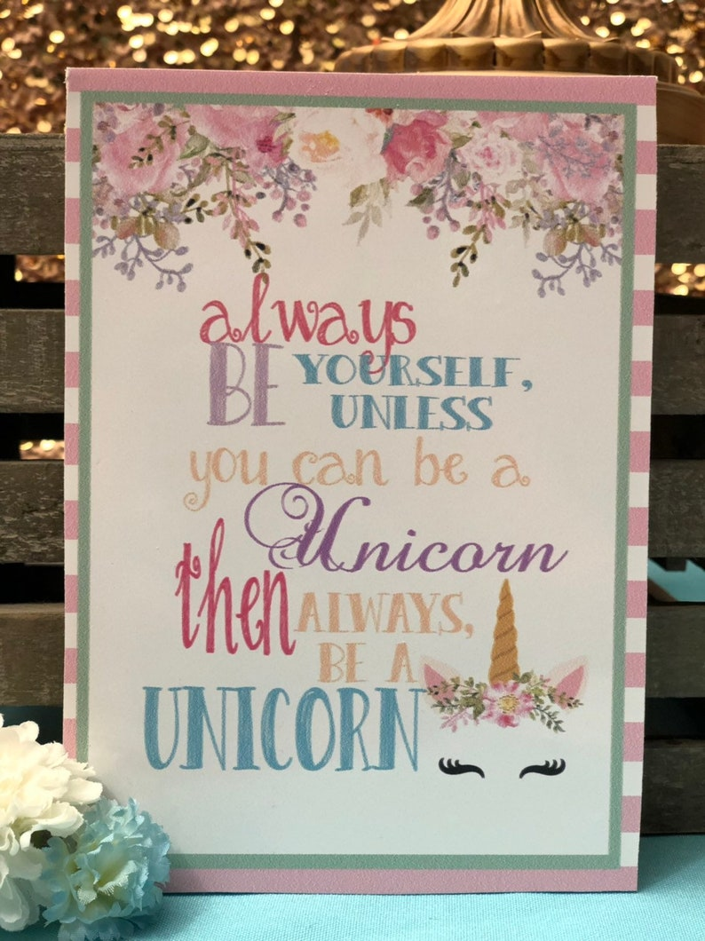 Unicorn party sign table sign and backdrop decorations