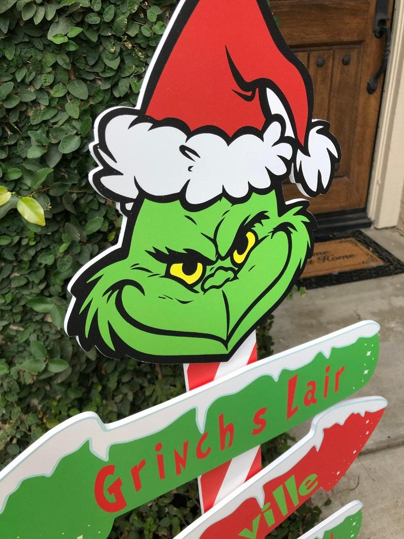 Christmas yard decorations grinch direction yard cutout ...