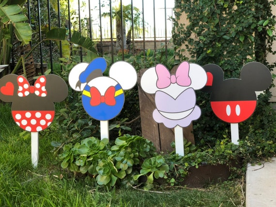 Disney Inspired Characters Yard Decorations Minnie Mickey Etsy