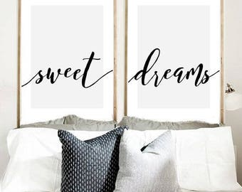 Sweet Dreams Print, Set Of 2 Prints, Calligraphy Print, Bedroom Wall Art,  Printable Art, Wall Art, Wall Decor Instant Download