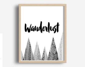 Wanderlust, Prinntable Art, Travel Poster,Travel Decor, Typography Print, Home Decor, Motivational Print, Instant Download