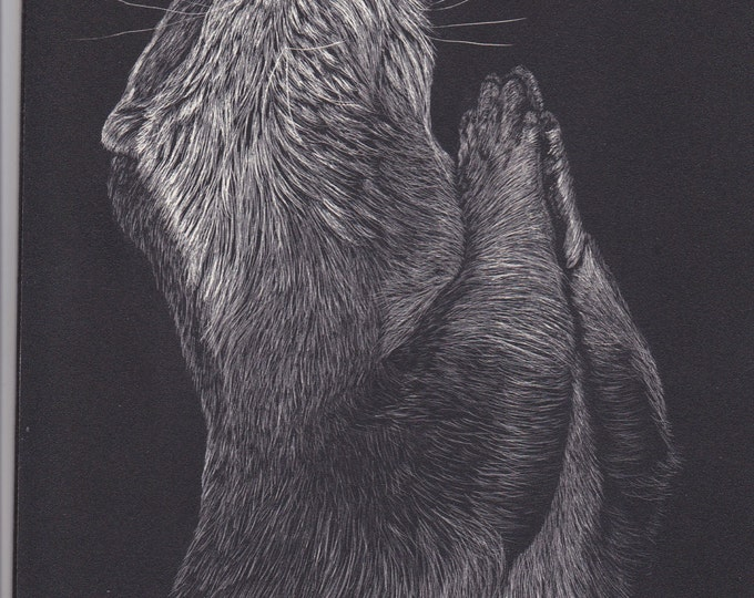 Namaste Otter one of a kind scratchboard!