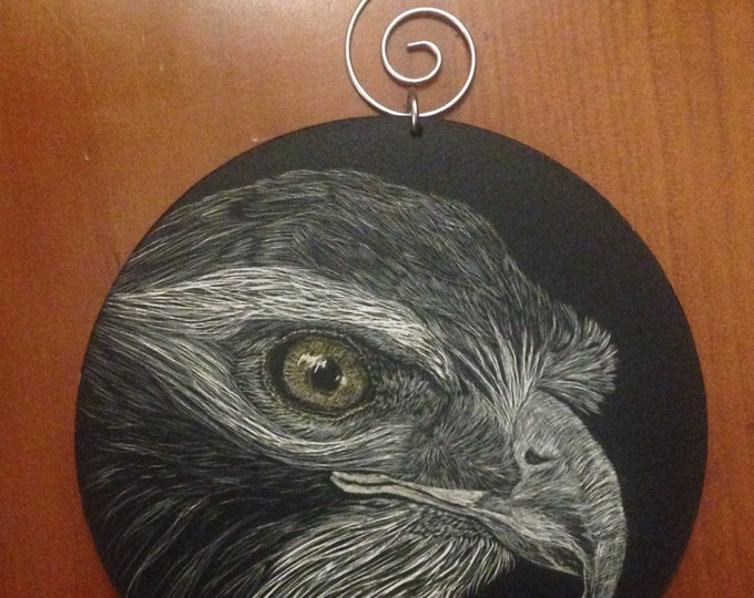 Hanging ornament scratchboard -- one of a kind!  Use as curtain tie back, place setting, etc!