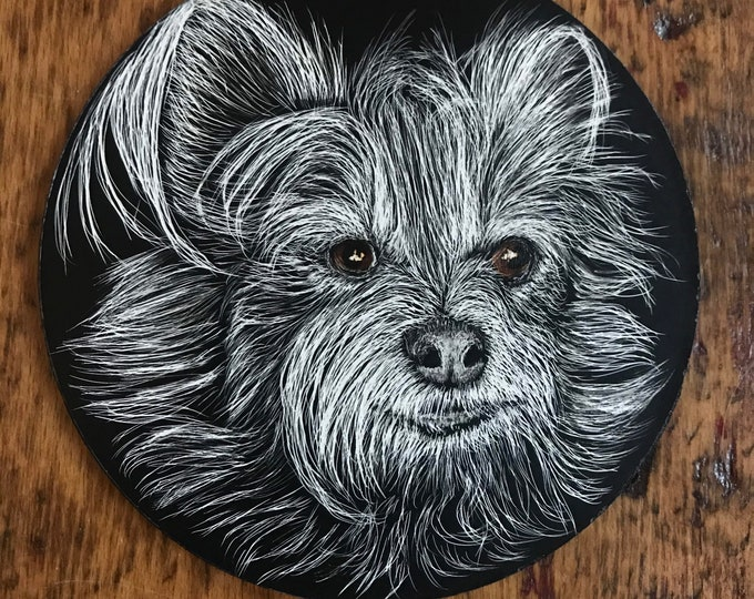 Pet or wildlife ornament scratchboard -- one of a kind!  Use as curtain tie back, place setting... Handmade!