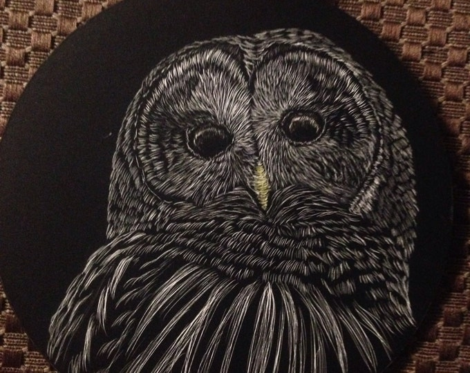Hanging ornament scratchboard -- one of a kind!  Use as curtain tie back, place setting... Etc!