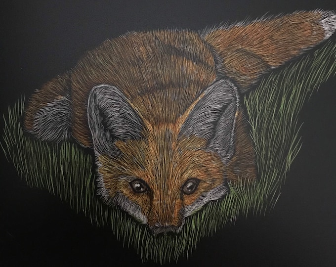 Pick a fox! 6x6 inch fox scratchboard of your choice!