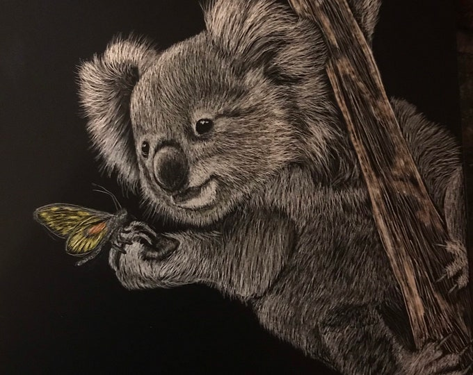 Cute koala!  An original scratchboard 5x7 inches