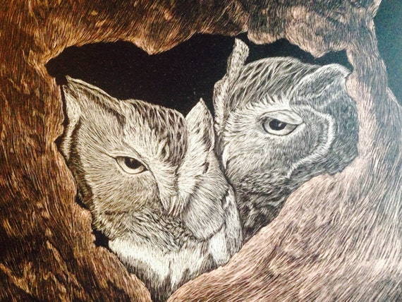 Screech owls in a tree -- Hoo's in love. Handmade scratchboard!