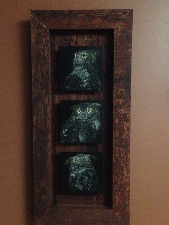 Hoo's who? Great horned owl scratchboards in a one of a kind handmade rustic frame