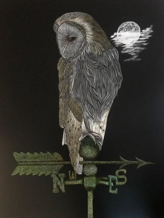 FREE SHIPPING!  True North in Backward World -- 18 x 24 inch scratchboard of barn owl!! One of a kind!