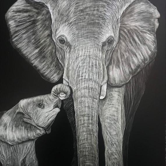 Baby elephant scratchboards - original or print!