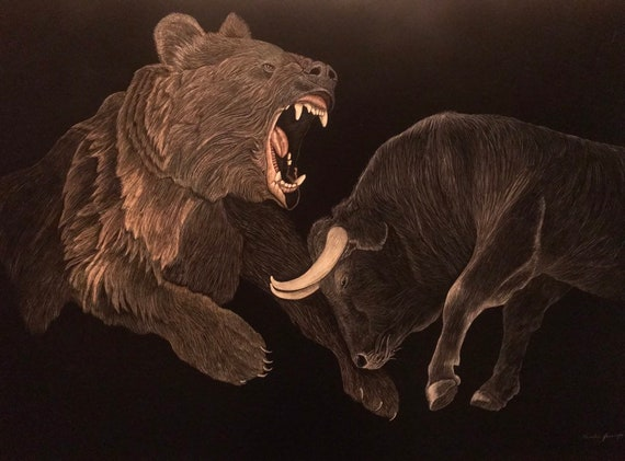 Fighting Bull and Bear scratchboard 24x36 inches: the epic struggle of the American Economy for your wall!