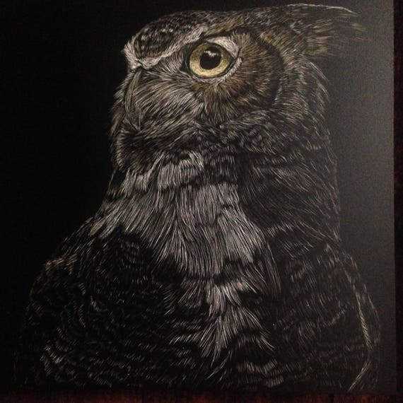 Pick your three! Hoo's who? Great horned owl scratchboards in a one of a kind handmade rustic frame