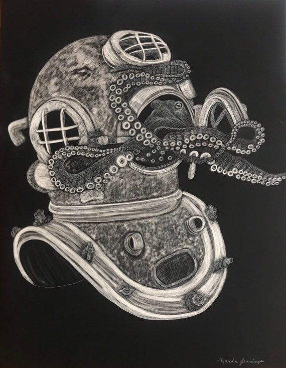 FREE SHIPPING!  14 x 18 inch or 12x12 inch octopus with antique diving helmet (frame not included)