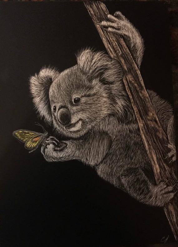 Cute koala!  An original scratchboard 5x7 inches