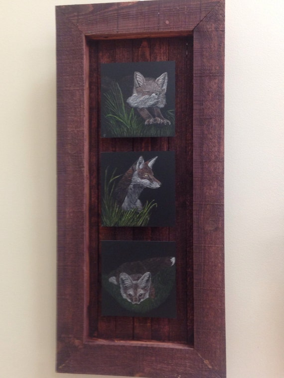 Foxy little fellows -- fox scratchboards in a one of a kind handmade rustic frame