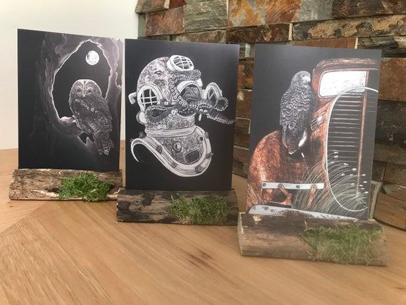 Get crafty with your art!  2D metal images in a wooden decorative stand, frame or cradle! Chose from 5 images!