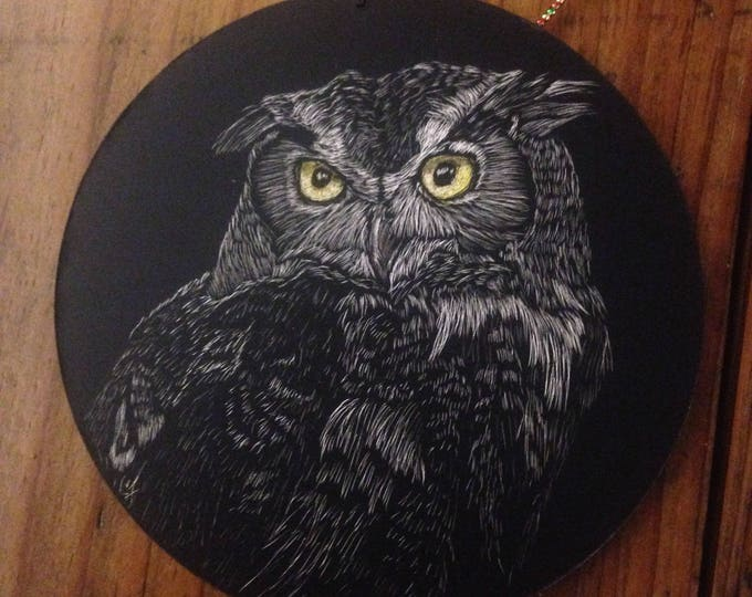 Scratchboard one-of-a kind owl ornaments!