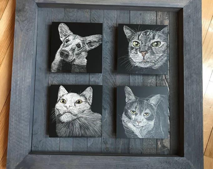 Custom multi-paneled pet scratchboard!!