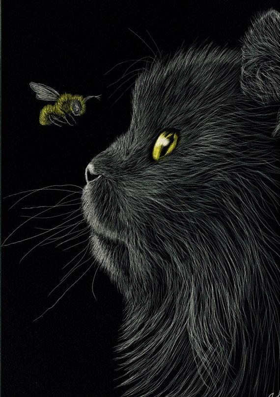 Cat and Bee original scratchboard 5x7 inches