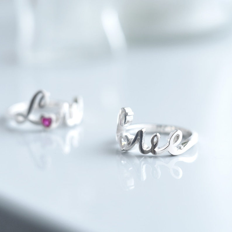 Ruby Love Ring 925 Sterling Silver Dainty Jewelry
