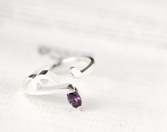 Amethyst Music note Ring 925 Sterling Silver February Birthstone Adjustable Ring