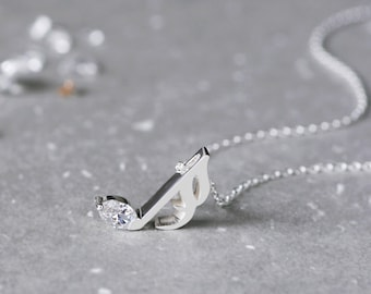 Music Note Necklace 925 Sterling Silver