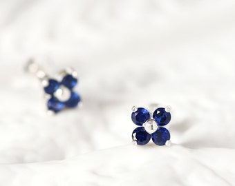 Sapphire Flower Earrings 925 Sterling Silver September Birthstone Tiny Stud Earrings